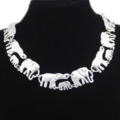 Elefanten Mutter Kind Baby Design Collier Kette Halskette Silber plattiert neu (Kind Halskette)