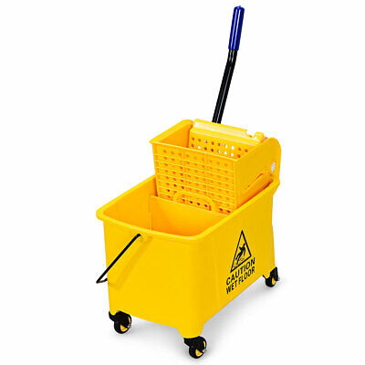 Commercial Mop Bucket Side Press Wringer on Wheels 21 Quart Yellow w/ Panel
