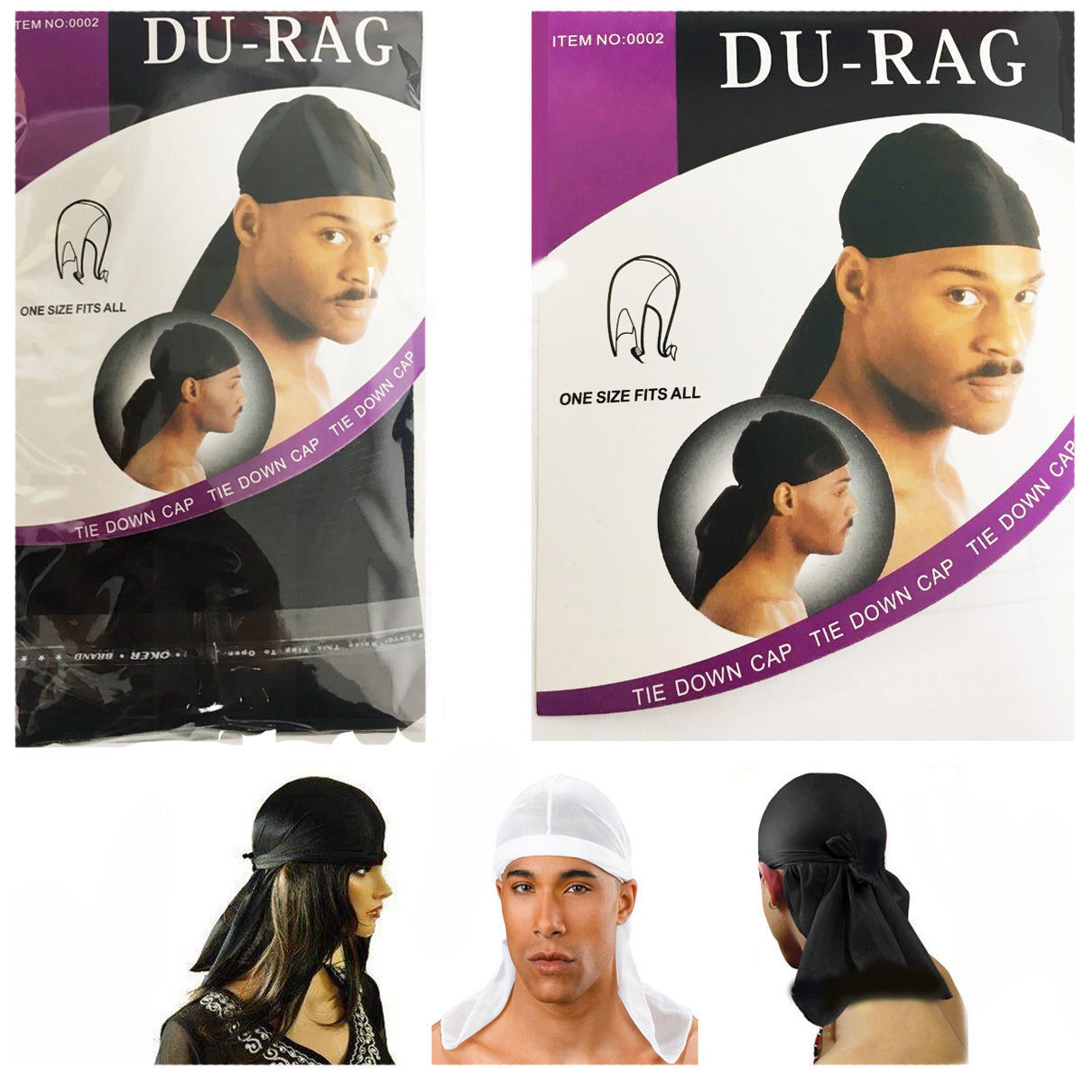 Herren Durag Bandana Breathable Close Fit Tie Down Sport Du Rag Head Scarf Wraps