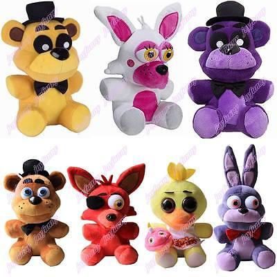 Set Of 7 Fnaf Five Nights At Freddys Chica Bonnie Foxy Plush Doll Xmas Toy New