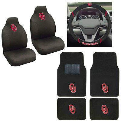 New NCAA Oklahoma Sooners Car Truck Seat Covers Floor Mats Steering Wheel Cover