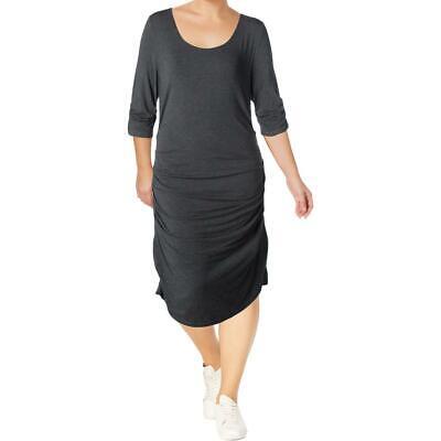 Lysse Womens Gray Casual Athleisure Knit Midi Dress 2X BHFO 4864