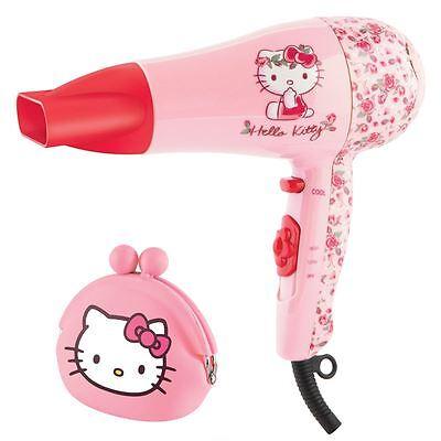 Hello Kitty Flora Design Pink Hair Dryer Styler Girls Childrens Gift Set + Purse