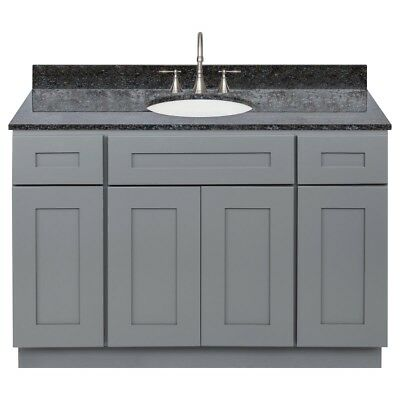 Vanity Cabinet 48 Colonial Gray, Granite Top Blue Butterfly, Faucet LB7B