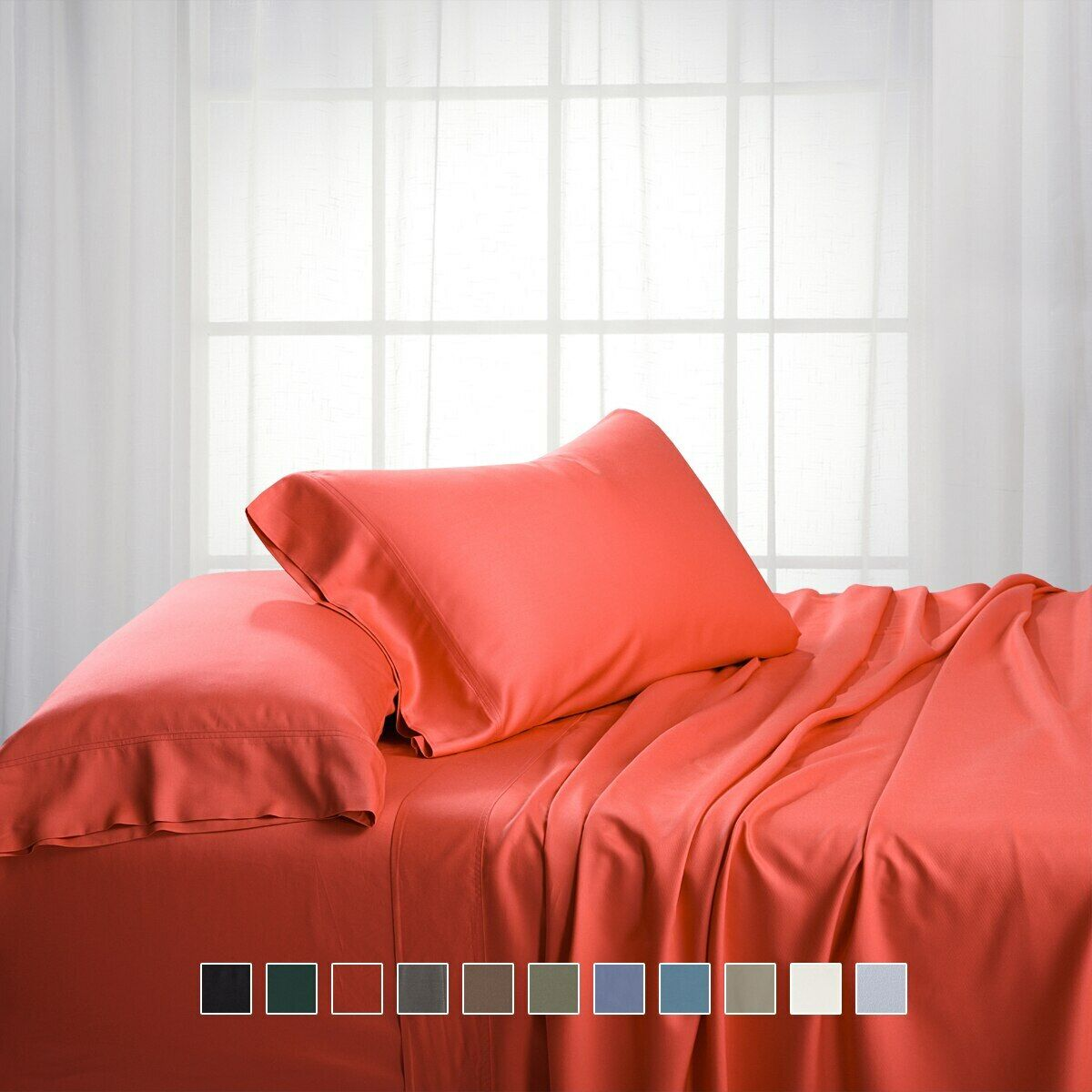 Luxury Bamboo Bed Sheet Set Hypoallergenic Cotton-Bamboo Ble