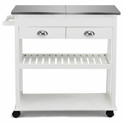 Multi-functional Rolling Kitchen Island Stainless Steel Tabletop w/Drawer White