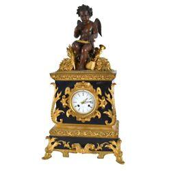 Antique French Bronze and Slate Cherub Figural Mantle Clock.