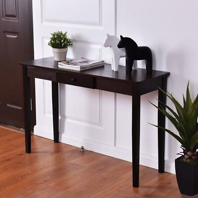 Wood Black Console Table Stand Side Sofa Entryway Accent Shelf Walnut Furniture