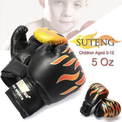 2Pc Black Boxing Gloves Junior Kids Training Youth Boxing Gloves 5Oz Children US