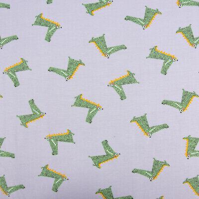 Baumwolljersey Jersey COOL CROCODILES Krokodil grau grün 1,45m Breite