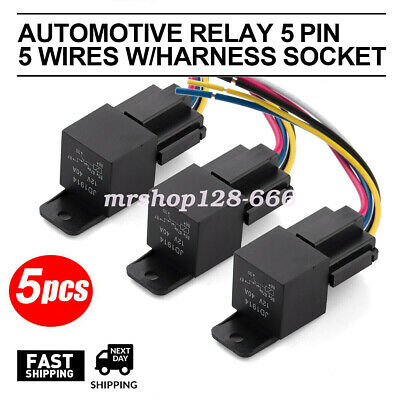5pcs Dc 12v Car Spdt Automotive Relay 5 Pin 5 Wires Wharness Socket 3040 Amp