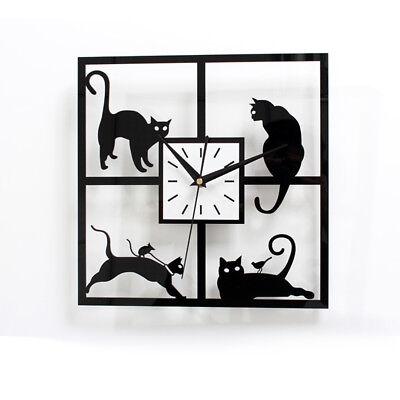 Black Kitty Cat Wall Clock 11'' kit Creative Coffee Kitchen Quartz Watch ()