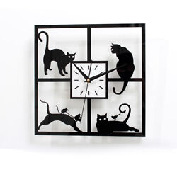 Black Kitty Cat Wall Clock 11'' kit Creative Coffee Kitchen Quartz Watch