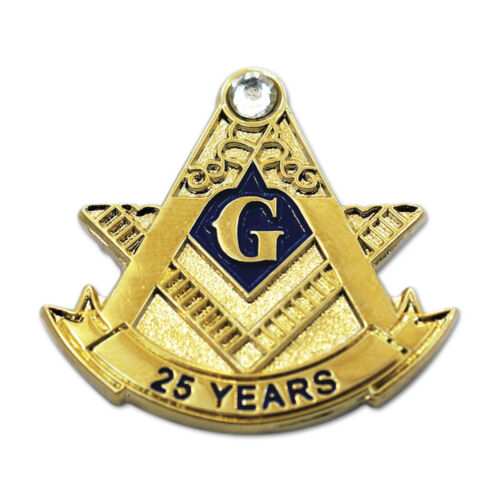 25 Years Square & Compass with Rhinestone Masonic Lapel Pin