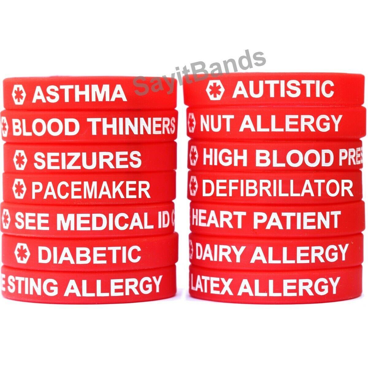 1 Red Medical Alert Wristband Bracelet - Debossed Med Condition Alert Band