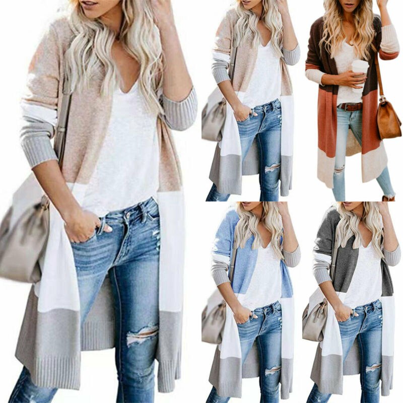 Women Long Sleeve Patchwork Knitted Cardigan Sweater Casual