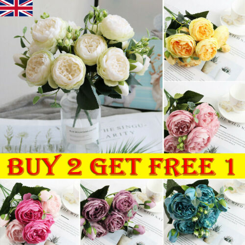 Home Decoration - 9 Heads Artificial Flowers Silk Peony Bouquet Fake Rose Wedding Home Party Decor