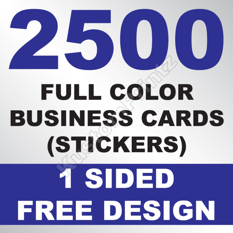 2500 CUSTOM FULL COLOR BUSINESS CARD STICKERS | GLOSSY UV FINISH | FREE DESIGN