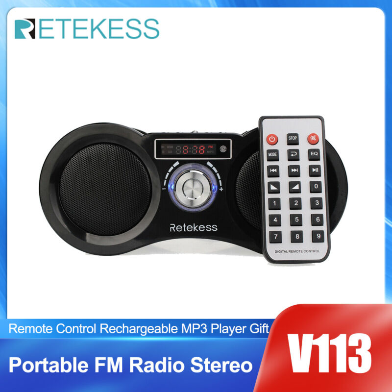 Portable FM Radio Stereo MP3 Player Boombox Bass Loudspeaker Remote Control Gift
