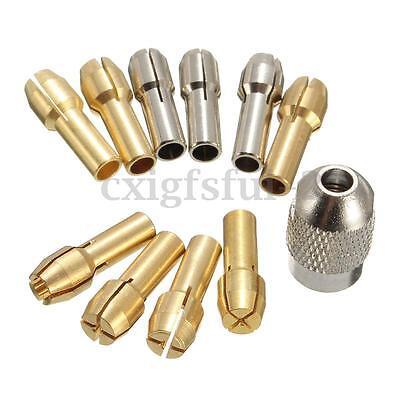 10x Notfall Messing Collet Spannzangensatz Spannzangenfutter 0.5-3.2mm f. Dremel