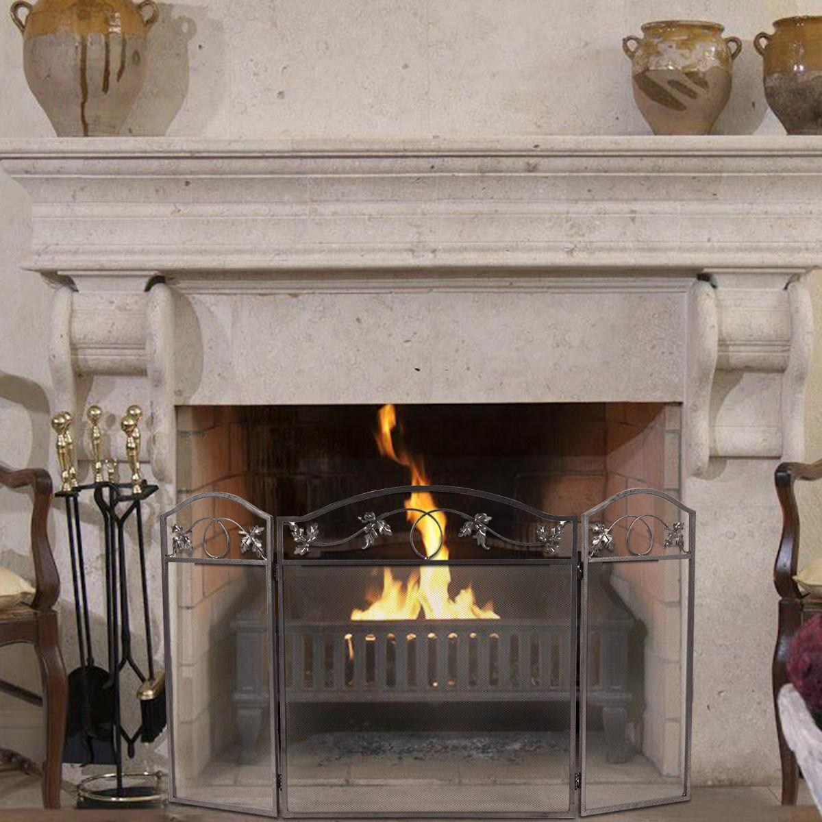 Folding Steel Fireplace Screen Doors 3 Panel Heavy Duty Home