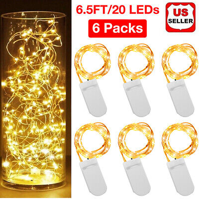 6PCS 20 LED Copper String Fairy Lights Battery Operated Wire Wedding Decor 6.5FT - Decorations Lights
