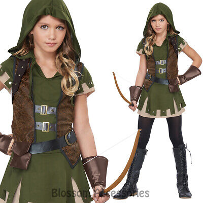 CK881 Miss Robin Hood Medieval Warrior Huntress Girl Kid Dress Costume Book Week](Hooded Huntress Child Costume)