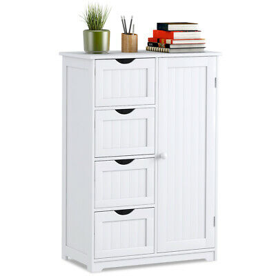 Wooden 4 Drawer Bathroom Floor Cabinet Storage Cupboard 2 Sh