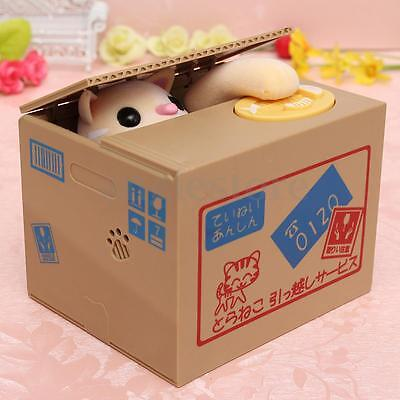 Automated Cute Cat Coin Money Steal Stealing Piggy Bank Money Collection Case US