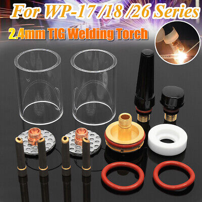 14 Pcs Tig Welding Torch Stubby Gas Lens Glass Cup Kit For Wp171826 2.4mm 332