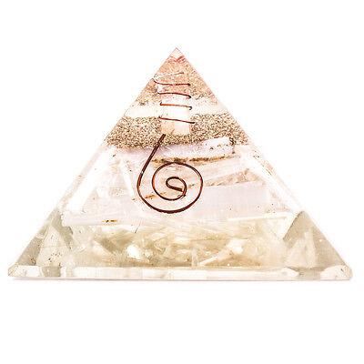 Selenite Stone Orgone Pyramid Reiki Healing Crystal Positive Energy Generator