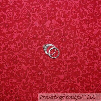 BonEful Fabric 2Y Cotton Quilt VTG Red Tone Flower Swirl Leaf Bird Xmas Star Dot