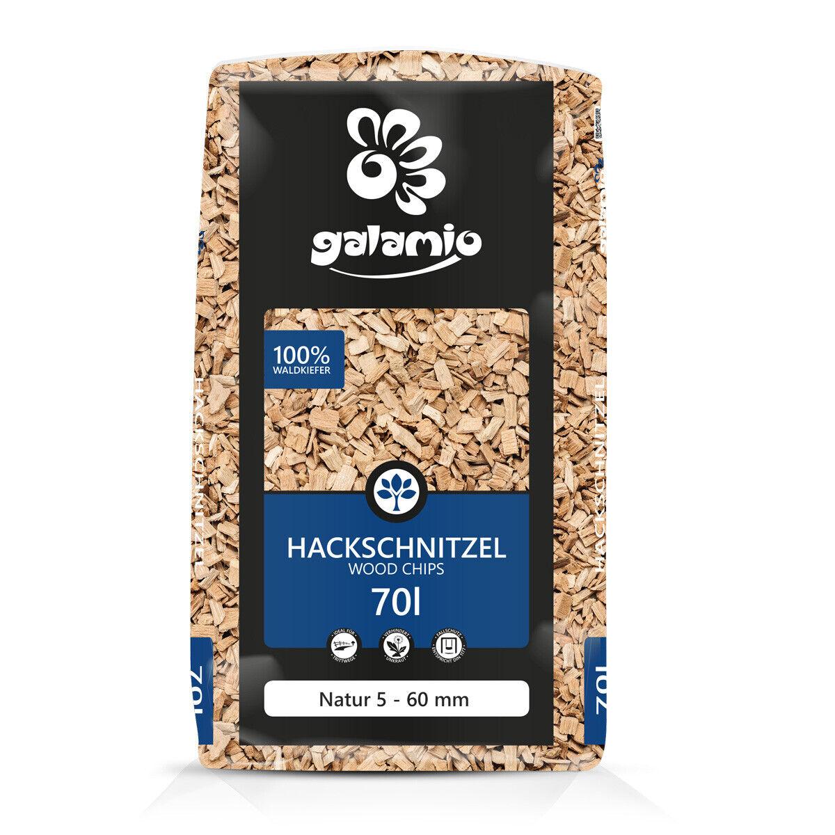Holzhackschnitzel Hackschnitzel Mulch Holz Kiefer Häcksel Natur Grob 70l Sack