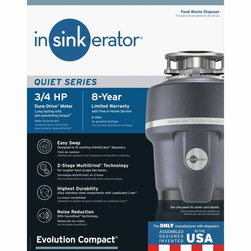 Insinkerator Evolution Compact 3/4 HP Garbage Disposer, 8 Year Warranty