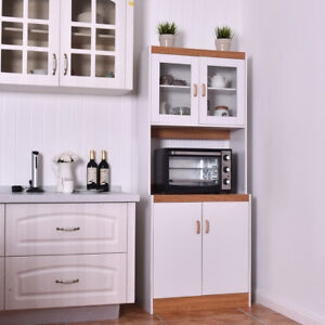 Superieur Tall Microwave Cart Stand Kitchen Storage Cabinet Shelves Pantry Cupboard  White