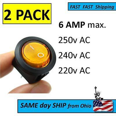 6a Light On-off Spst Round Button Rocker Ac 250v 240v 220v Switch - 6 Amp Max.
