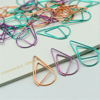 50100pcs Metal Drop Shape Paper Clips Kawaii Bookmark Office Shool Stationery