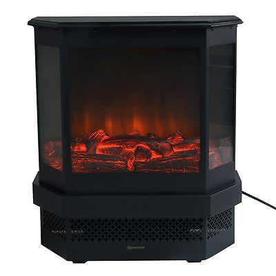 """23"""" Electric Fireplace 1500W Adjustable Heater Fire Tempered Glass Free Standing"""