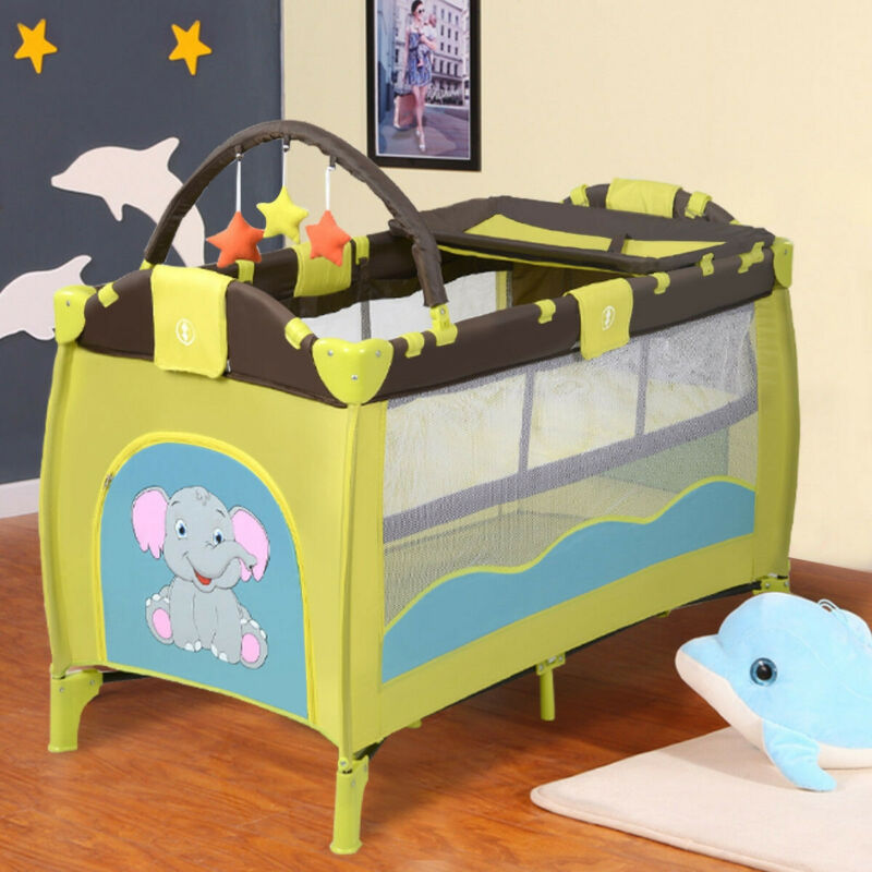 Baby Crib Playpen Playard Pack Travel Infant Bassinet Bed Foldable Home Toy Tool