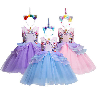 Kinder Mädchen Einhorn Tutu Kleid Party Kostüme mit Stirnband Set für 3-10 Jahre