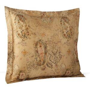Ralph lauren verdonnet paisley euro pillow shams two soft gold green