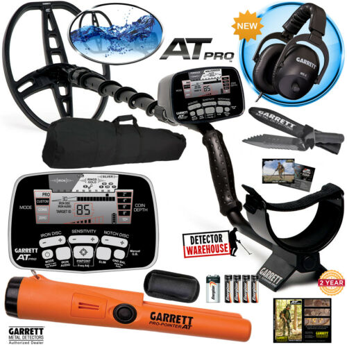 Garrett AT Pro Metal Detector with MS-2 Headphones and Pro-Pointer AT, Carry Bag