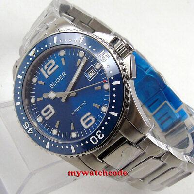 40mm bliger blue dial sapphire glass ceramic bezel date automatic mens watch 281