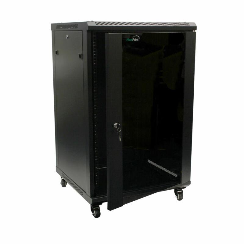 18U Wall Mount Server Data Cabinet 24-inch Depth Glass Door Lock & Key w/Casters