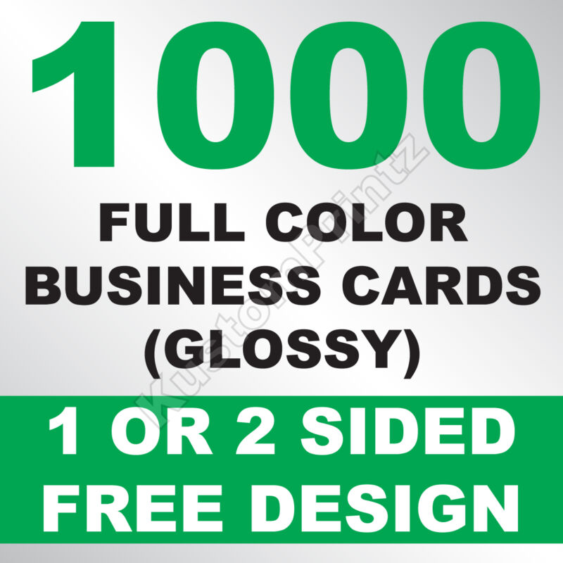 1000 Custom Full Color Business Cards | 16pt | Glossy Uv Finish | Free Design