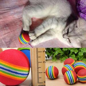 6pcs Small Colorful Pet Cat Kitten Soft Foam Rainbow Play Balls Activity Toys