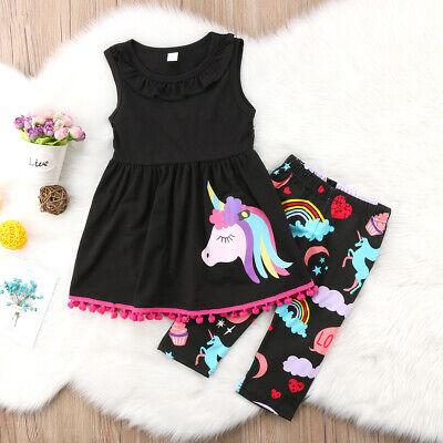 Einhorn Kinder Baby Mädchen Outfits Kleidung T-Shirt Tops Kleid + Shorts Hosen