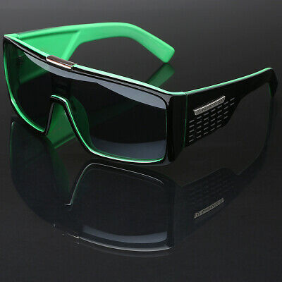 Green Oversized Big Thick Bold Frame Sunglasses Square Shield Lens Mens (Shield Lens)