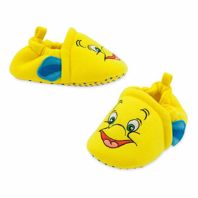 DISNEY STORE LITTLE MERMAID FLOUNDER COSTUME SHOES FOR BABY WITH 3-D FINS CUTE