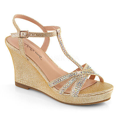 Gold Vintage Wedding Wedges Heels Bridal Party Bridesmaid Shoes size 7 8 9 10 11